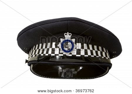 Police Flat Cap Isolated On White