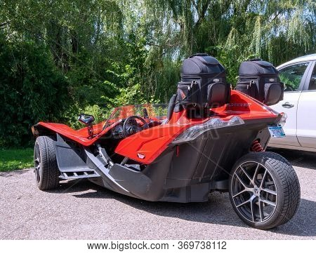 Nelson, Wi - 28 Aug 2019: Polaris Slingshot, A Three Wheeled Vehicle With Two Front Wheels And One R