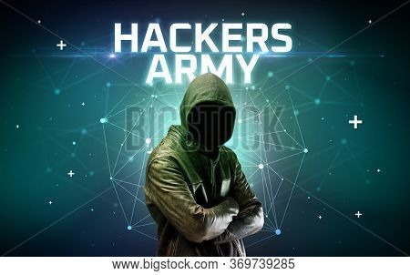 Mysterious hacker with HACKERS ARMY inscription, online attack concept inscription, online security concept