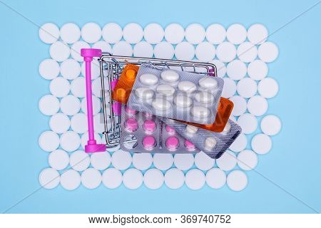 Consumer Basket Filled With Drugs, Background Of White Drugs.pharmacy Theme, Pills White Medication