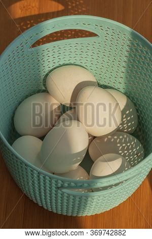 Natural Homemade Eggs In A Tray. Top View. Egg Tray. Easter Concept. Concept Of Natural Eggs. Egg Ch