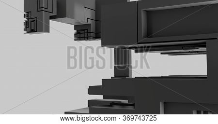 3d Rendering. Abstract Image Of Black And White Cubic Shapes In Space. Futuristic Illustration With