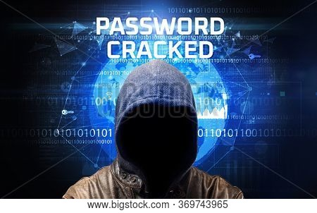 Faceless hacker at work with PASSWORD CRACKED inscription, Computer security concept