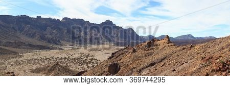 Volcanic Mountain Panorama In Teide National Park On Canary Island Tenerife, Spain