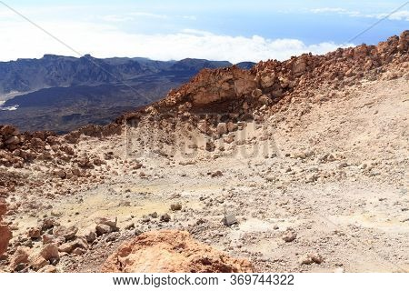 Mount Teide Volcanic Crater And Mountain Panorama On Canary Island Tenerife, Spain