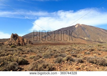 Volcano Mount Teide Peak And Rock Formations Roques De Garcia In Teide National Park On Canary Islan
