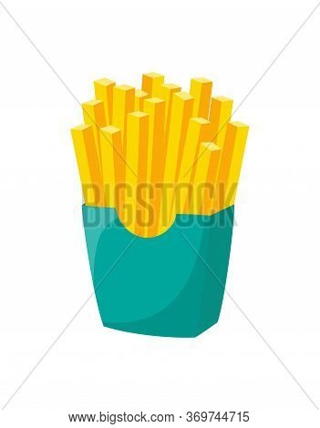 French Fries In Green Cardboard Box Isolated On White Background, Vector Illustration Of French Frie