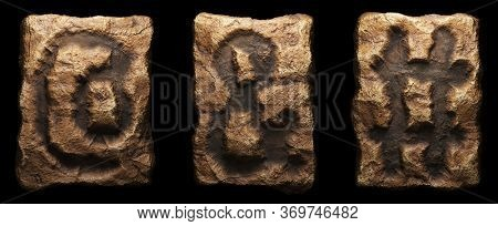 Set of rocky symbols at, ampersand and hash. Font of stone on black background. 3d rendering