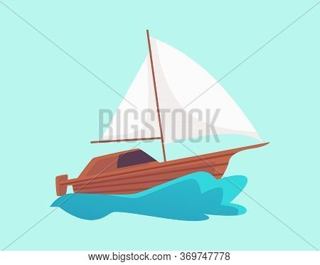 Cartoon Wooden Motorboat With White Sail Riding A Blue Water Wave