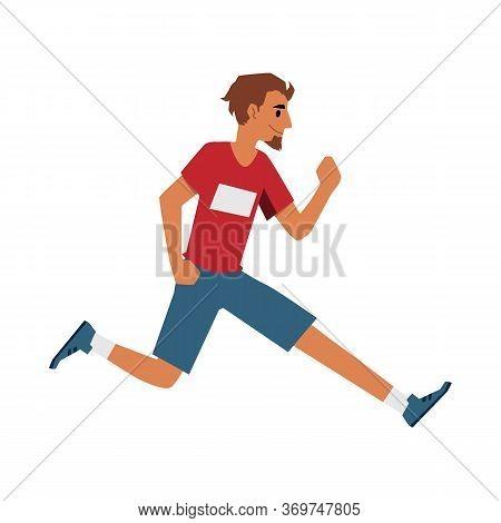 Male Runner Athlete In Sport Clothes Running Forward, Cartoon Man