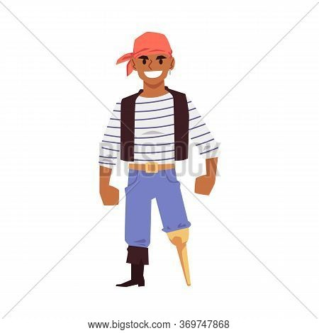 Pirate Or Sailor Character With Leg Limb, Flat Vector Illustration Isolated.