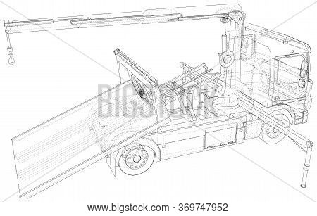 Tow Truck. Vector Illustration Of Tow Truck. Towing. The Layers Of Visible And Invisible Lines Are S