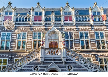 Entrance Of The Old City Hall In The Historic City Centre Of Alkmaar In North-holland In The Netherl