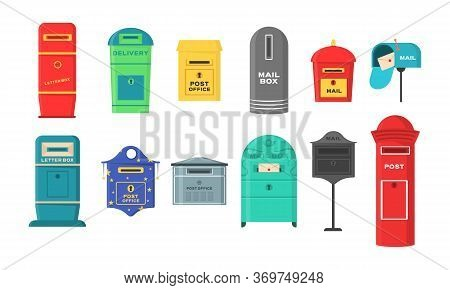 Vector Set Of Mailboxes, Letter Boxes, Pedestals For Sending And Receiving Letters, Correspondence,