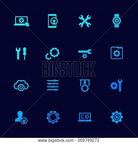 Settings, Options Icons Set With Gears, Vector, Eps 10 File, Easy To Edit