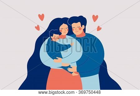 Happy Young Mother And Father Embrace Their Child With Care And Love. Family Concept. Vector Illustr