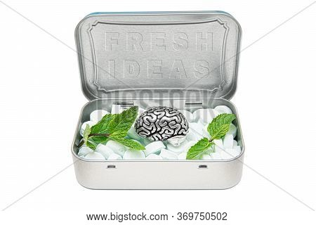 Tin Box Full Of Breath Mints, A Steel Copy Of Human Brain And Green Mint Leaves, Representing A Rich