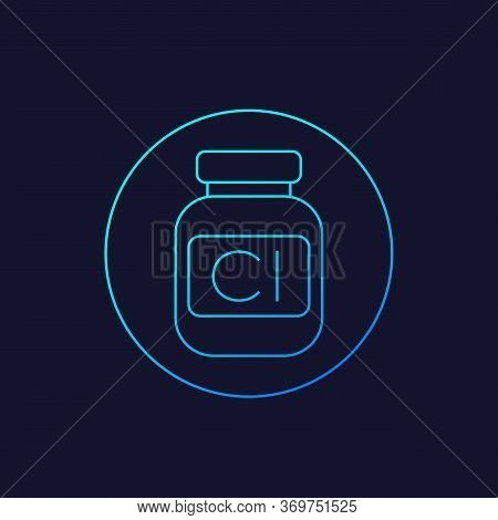 Chlorine Bottle Vector Line Icon, Eps 10 File, Easy To Edit