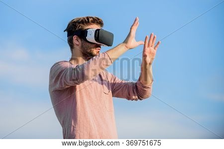 Fun With Virtual Reality Headset. Play Virtual Game. Guy Virtual Reality Goggle. Macho Man Wear Wire