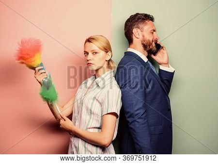 Housekeeping Routine. Couple Man And Woman Team. Housekeeping Or Business. Housewife And Businessman
