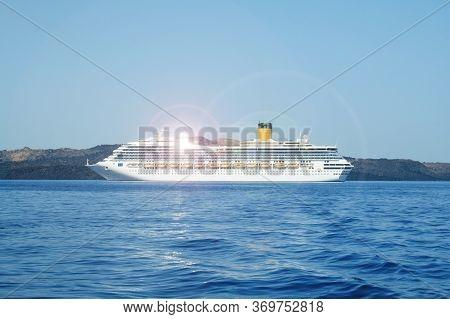 Luxury Cruise Ship Moored In Aegean Sea, Greece. Many Tourists Cruising Around Mediterranean Sea To