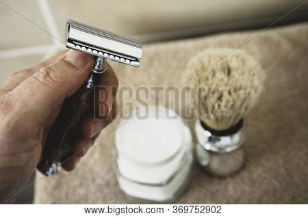 Close-up Of Safety Razor 50s Style And Male Cosmetic Products And Supplies Used By Men To Shave. Saf