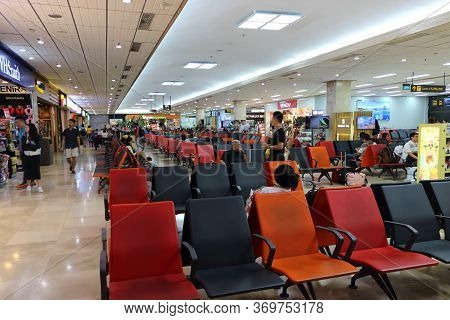 Lapu-lapu City, Philippines - October 3, 2018: View On Unidentified People Sitting And Waiting Check