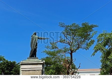 Manila, Philippines - September 24, 2018: Monument To King Charles Iv Of Spain On Plaza De Roma Or P