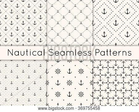 Set Of 6 Vector Seamless Geometric Pattern With Anchors, Steering Wheel And Polka Dot. Nautical Back