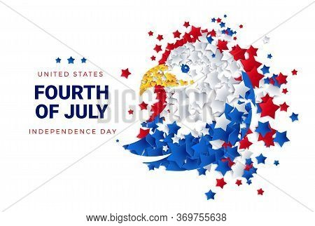 Fourth Of July Background - American Eagle Made Of Stars For Usa Independence Day - 4th Of July Vect