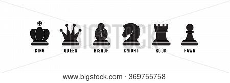 Chess Pieces Icon Set. Included Icon King, Queen, Bishop, Knight, Rook, Pawn. Black Silhouettes Isol