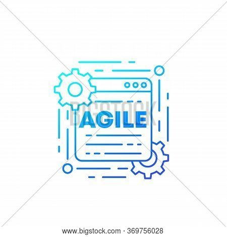 Agile Software Development Process Vector Icon, Line, Eps 10 File, Easy To Edit