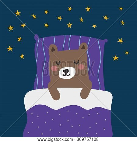 Hand Drawn Vector Illustration Of A Cute Funny Sleeping Bear. Scandinavian Style Flat Design. Childi