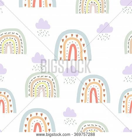 Seamless Cute Pattern In Scandinavian Style For Kids, Children. Rainbow And Clouds And Stars Backgro