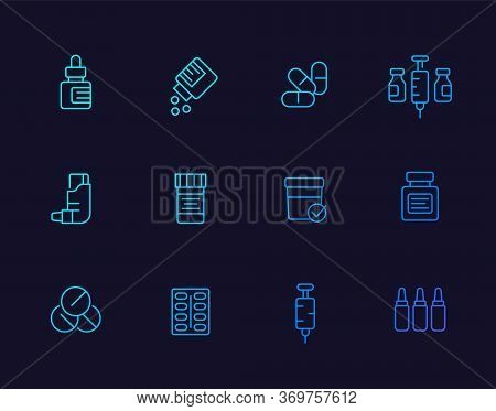Medicaments, Drugs Vector Line Icons Set, Eps 10 File, Easy To Edit