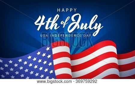 Us Independence Day Banner, Poster Or Greeting Card With National Flag On Blue Background, Vector Il