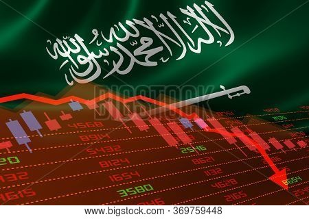 3d Rendering Of Saudi Arabia Economic Downturn With Stock Exchange Market Showing Stock Chart Down A