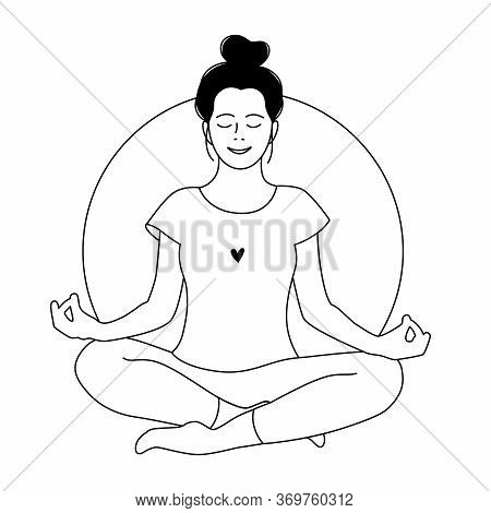 Girl Meditates. Relax. Love Yourself. Mental Health Concept. Meditation. Healthcare. Inner Harmony.