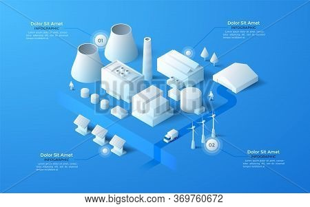 Isometric Map Of City Industrial District With Paper White Manufacturing Or Production Plants, Wareh