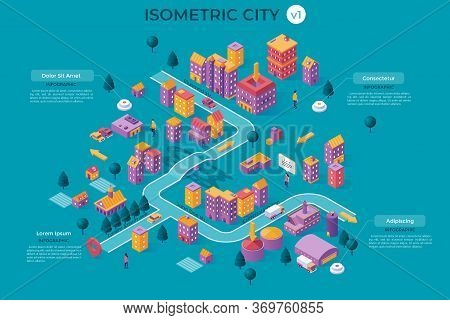 Infographic Banner Or Poster Template With Modern City Map, Transport Infrastructure, Streets, Livin
