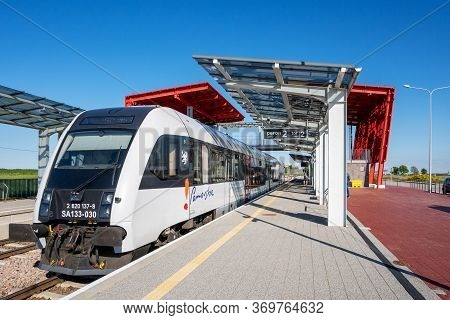 Gdansk, Poland - June 4, 2020: Pomeranian Metropolitan Railway (abbreviated As Pkm) In Gdansk. Publi