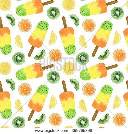 Repeat Pattern Of Kiwi Ice Cream Fruity Juice Lemon Orange Kiwi Slices Watercolor Food Illustration,