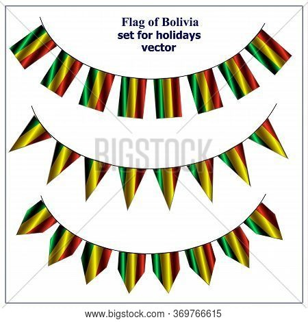 Bright Set With Flags Of Bolivia. Happy Bolivia Day Collection. Bright Vector With Transparent Backg