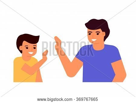 Happy Young Dad And Son. Family Informal Communication, Consent. High Five. Fathers Day. Vector Illu