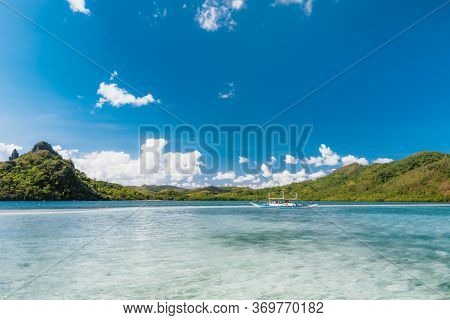 El Nido, Palawan, Philippines. Traditional Boat Om Lagoon Near Snake Island