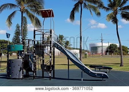 Slippery Slide And Play Equipment In Childrens Outdoor Playground, No-one To Play