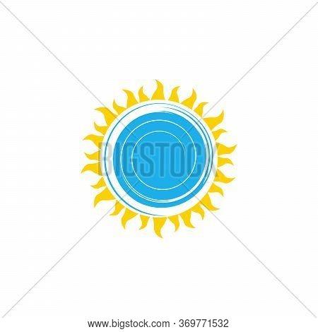 Sun And Whirlpool Sea Or Ocean Water Logo, Abstract Spin, Summer Aqua Design. Stock Vector Illustrat
