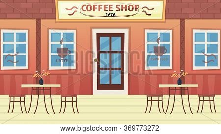 Concept Of Coffee Shop Or Bistro. Modern Exterior Of Cozy Urban Cafe Without People. Empty Restauran
