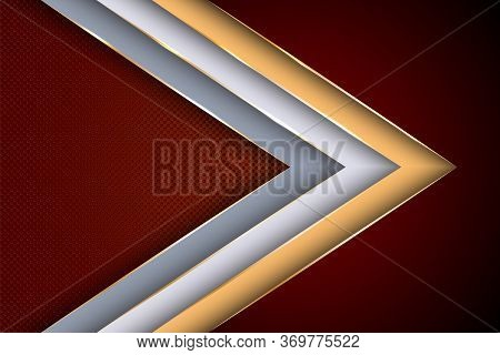 Polygonal Arrow With Gold Triangle Edge Lines Banner Vector Design. Luxury Business Background Templ