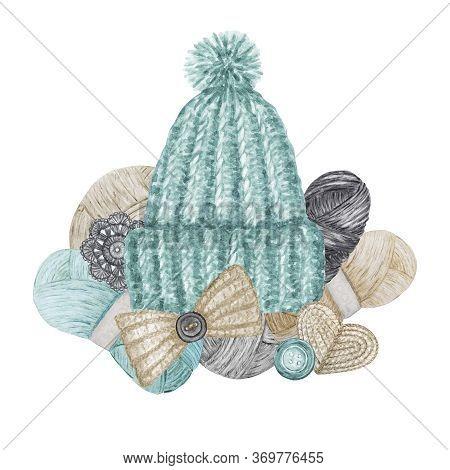 Scandinavian Style Crochet Shop Logotype, Branding, Avatar Composition Of Hats, Yarns, Crocheted Hea